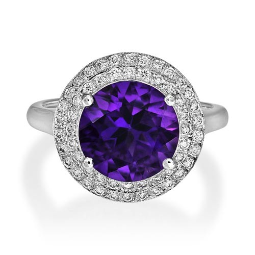 amethyst ring 3.26ct. set with diamond in cluster ring smallest Image