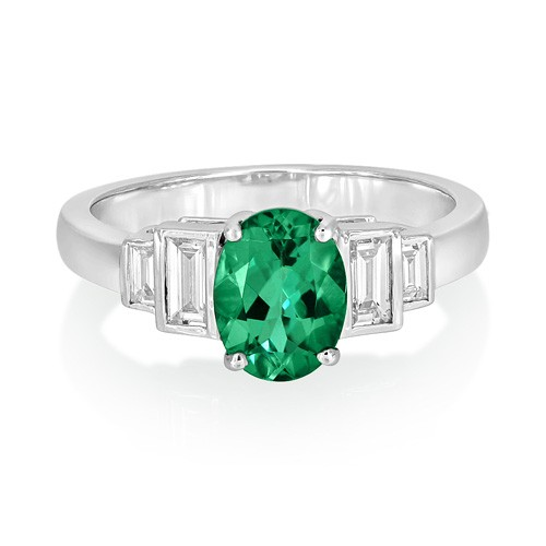 tourmaline ring 1.33ct. set with diamond in five stone ring smallest Image