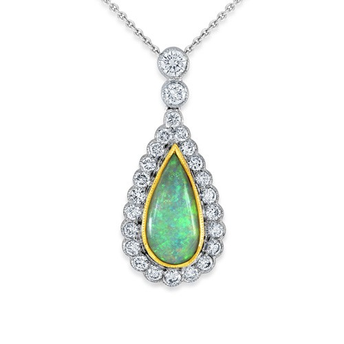 opal pendant 0.98ct. set with diamond in cluster pendant smallest Image