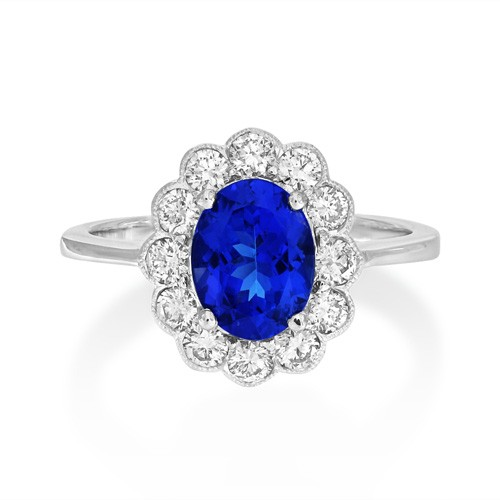 tanzanite ring 1.79ct. set with diamond in cluster ring smallest Image