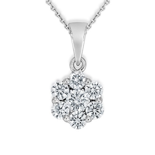0.76ct. diamond pendant set with diamond in cluster pendant smallest Image