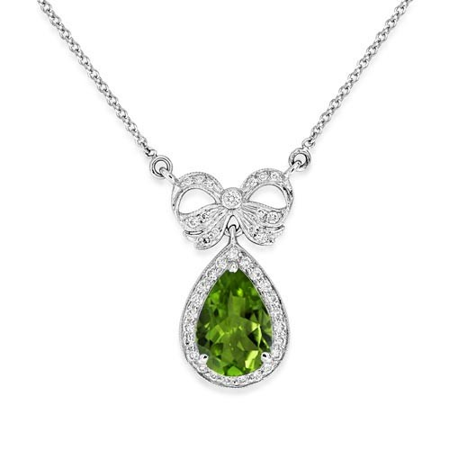 peridot pendant 2.07ct. set with diamond in vintage pendant smallest Image
