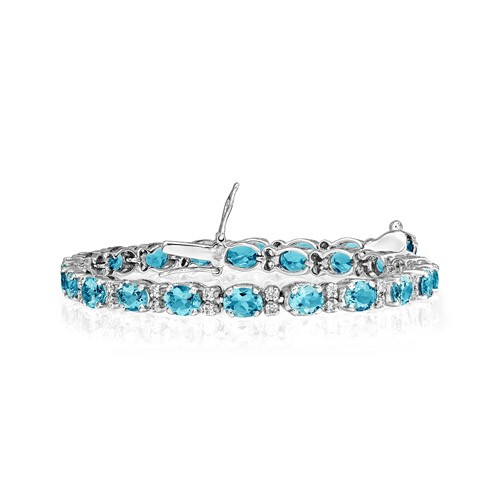 aquamarine bracelet 8.05ct. set with diamond in line bracelet smallest Image