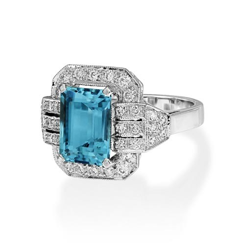aquamarine ring 3.54ct. set with diamond in vintage ring smallest Image