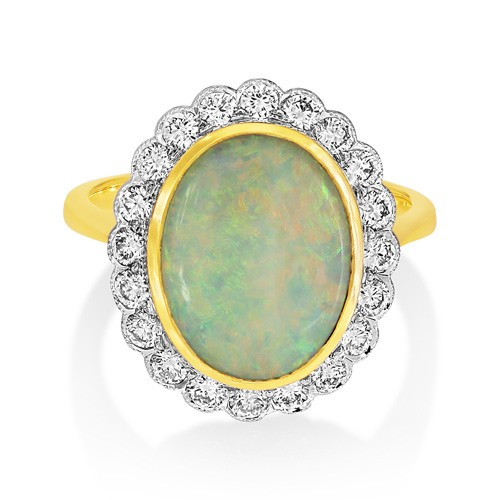 opal ring 2.87ct. set with diamond in cluster ring smallest Image