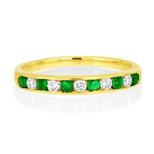 emerald ring 0.18ct. set with diamond in eternity ring smallest Image