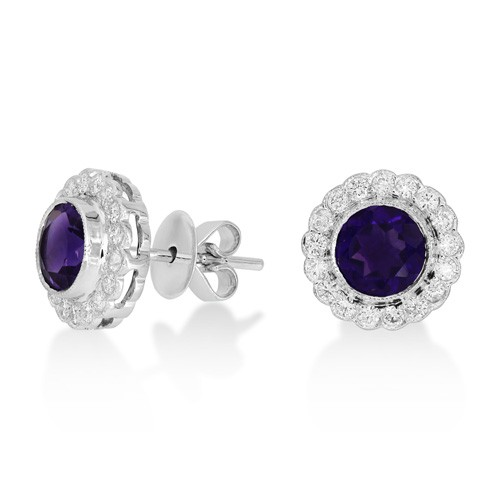 amethyst earrings 1.5ct. set with diamond in cluster earrings smallest Image