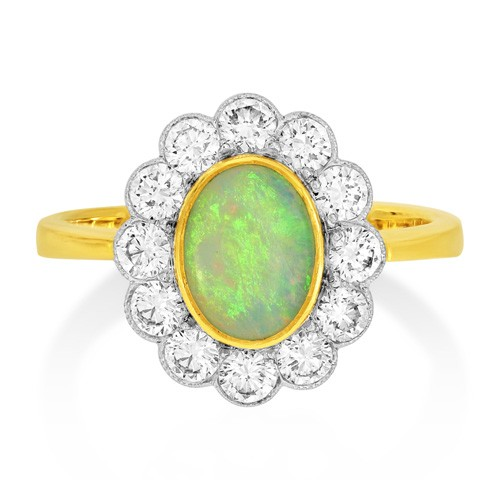 opal ring 0.79ct. set with diamond in cluster ring smallest Image