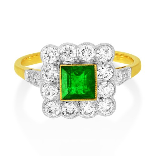 emerald ring 0.77ct. set with diamond in vintage ring smallest Image