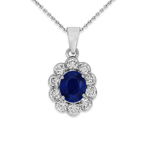 sapphire pendant 1.88ct. set with diamond in cluster pendant smallest Image