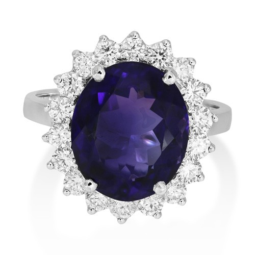 amethyst ring 4.93ct. set with diamond in cluster ring smallest Image