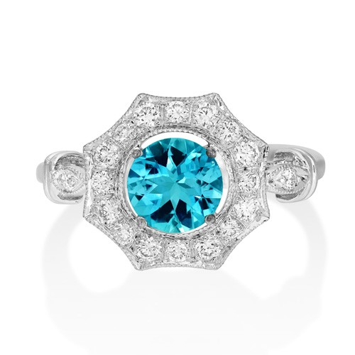 aquamarine ring 0.59ct. set with diamond in vintage ring smallest Image