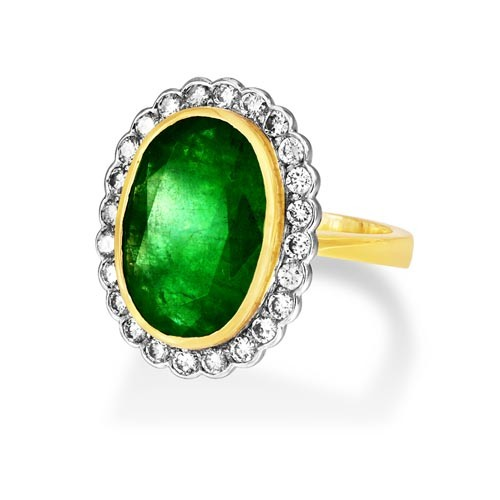 emerald ring 6.96ct. set with diamond in cluster ring smallest Image