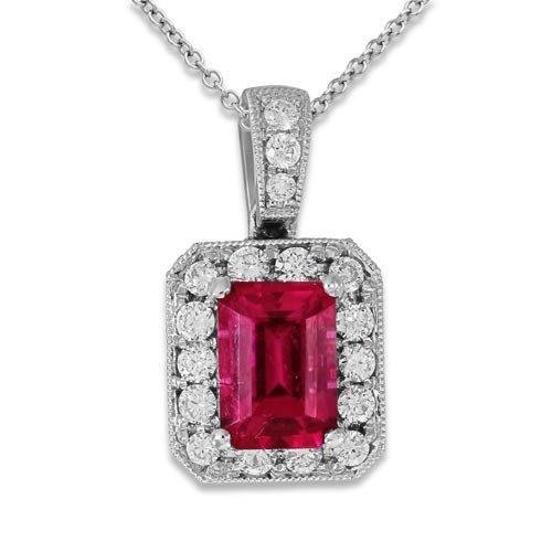 tourmaline pendant 0.95ct. set with diamond in cluster pendant smallest Image