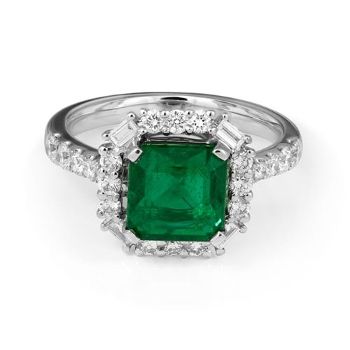 emerald ring 2.55ct. set with diamond in cluster ring smallest Image