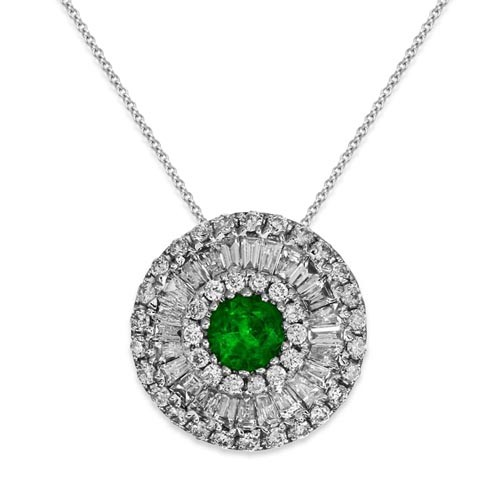 emerald pendant 0.15ct. set with diamond in cluster pendant smallest Image