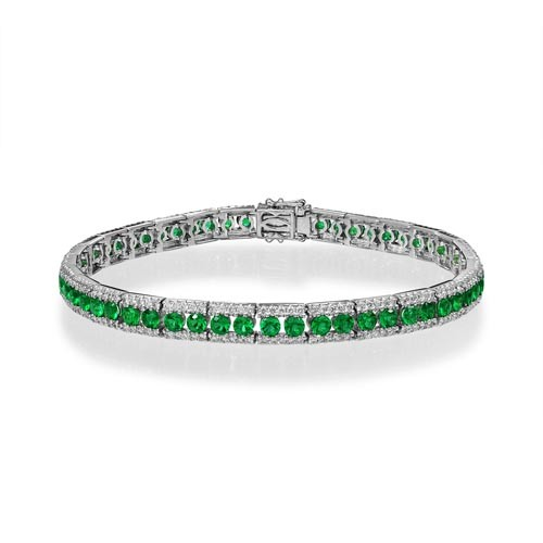 emerald bracelet 3ct. set with diamond in tennis bracelet smallest Image