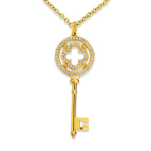 0.31ct. diamond pendant set with diamond in key pendant smallest Image