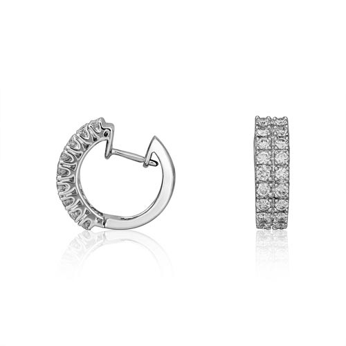 0.59ct. diamond earrings set with diamond in hoop earrings smallest Image