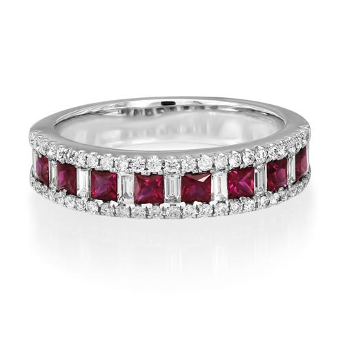 ruby ring 0.6ct. set with diamond in wide band ring smallest Image