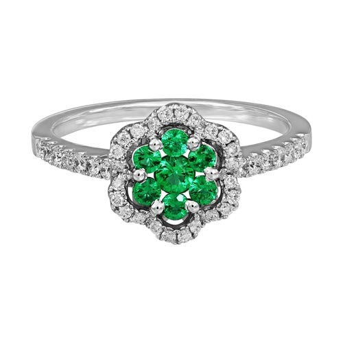 emerald ring 0.22ct. set with diamond in cluster ring smallest Image