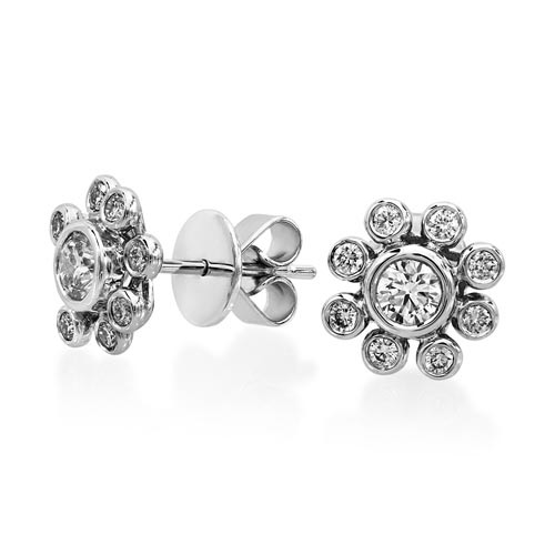 0.75ct. diamond earrings set with diamond in cluster earrings smallest Image