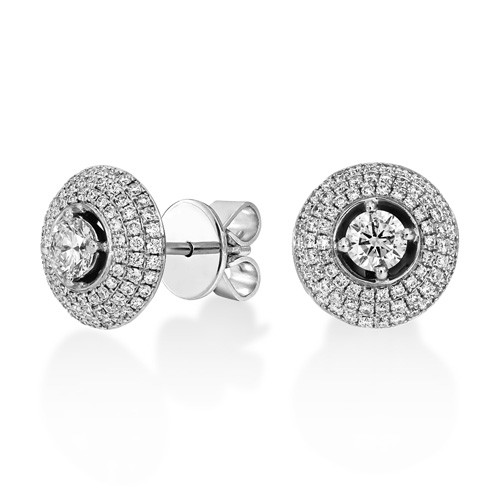 0.98ct. diamond earrings set with diamond in cluster earrings smallest Image