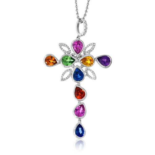 fancy sapphire pendant 3.36ct. set with diamond in cross pendant smallest Image