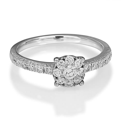 0.52ct. diamond ring set with diamond in cluster ring smallest Image