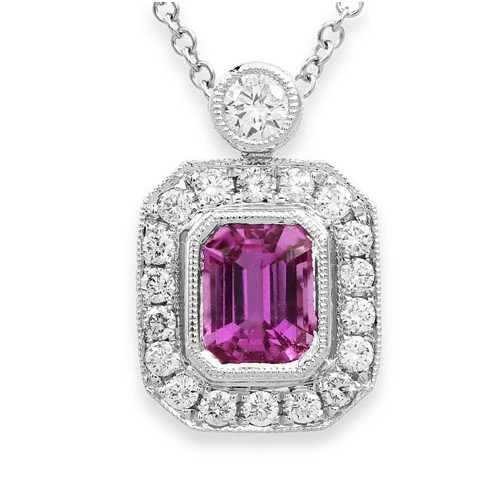 pink sapphire pendant 1.41ct. set with diamond in cluster pendant smallest Image