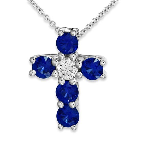 sapphire pendant 0.37ct. set with diamond in cross pendant smallest Image