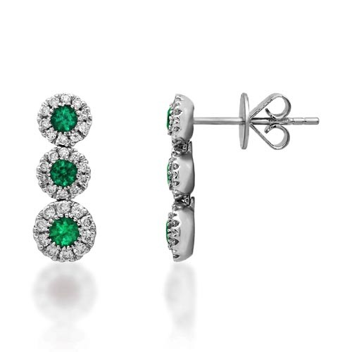 emerald earrings 0.36ct. set with diamond in drop earrings smallest Image