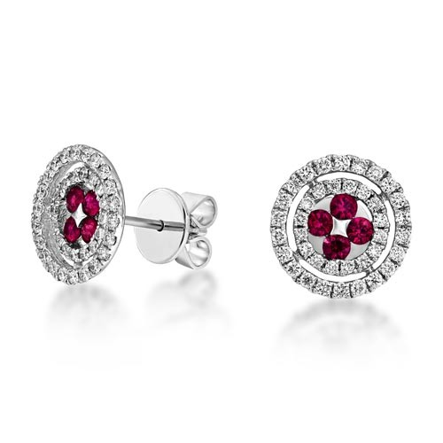 ruby earrings 0.41ct. set with diamond in cluster earrings smallest Image