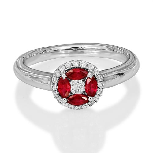 ruby ring 0.36ct. set with diamond in cluster ring smallest Image