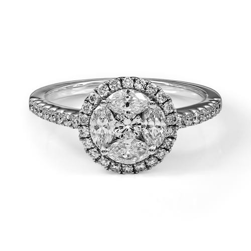 0.99ct. diamond ring set with diamond in cluster ring smallest Image