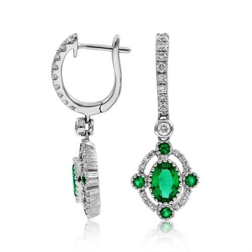 emerald earrings 0.94ct. set with diamond in drop earrings smallest Image