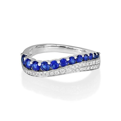 sapphire ring 0.72ct. set with diamond in wide band ring smallest Image