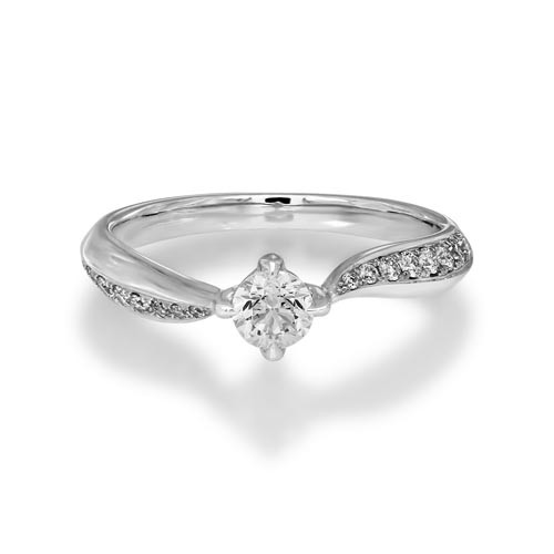 0.49ct. diamond ring set with diamond in shoulder set ring smallest Image
