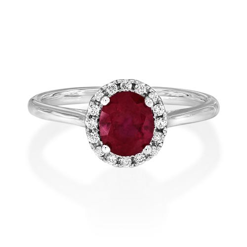 ruby ring 1.28ct. set with diamond in cluster ring smallest Image