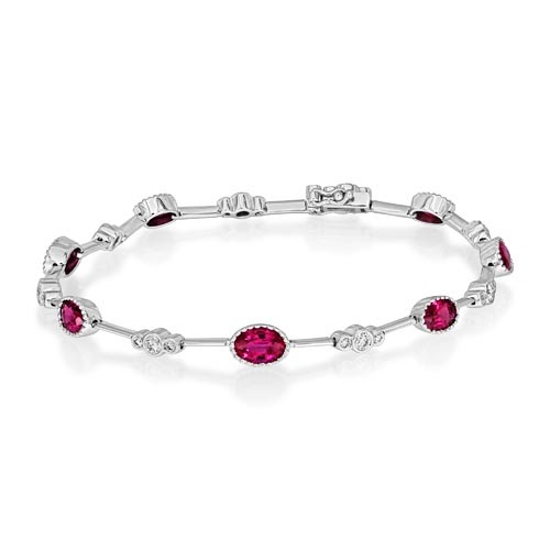 ruby bracelet 3.18ct. set with diamond in tennis bracelet smallest Image