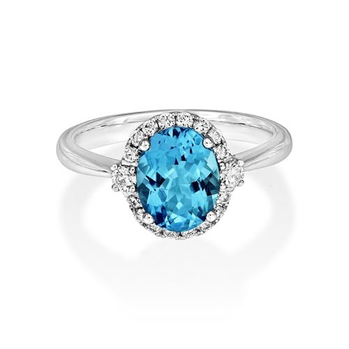 aquamarine ring 1.7ct. set with diamond in cluster ring smallest Image