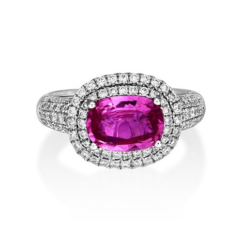 pink sapphire ring 1.84ct. set with diamond in cluster ring smallest Image