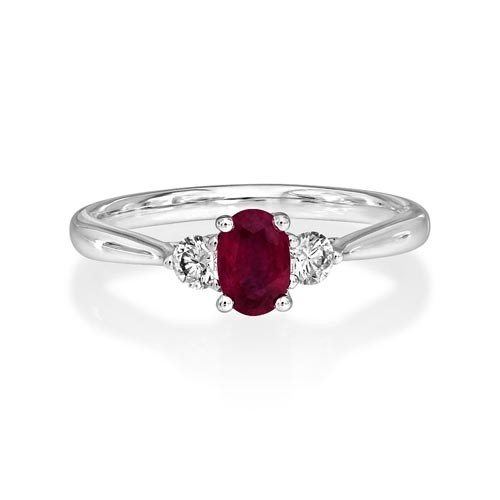 ruby ring 0.51ct. set with diamond in three stone ring smallest Image