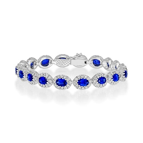 sapphire bracelet 8.4ct. set with diamond in cluster bracelet smallest Image