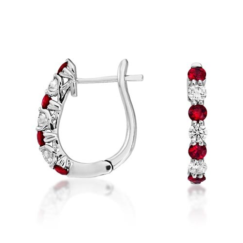 ruby earrings 0.46ct. set with diamond in hoop earrings smallest Image
