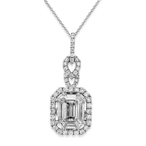 0.78ct. diamond pendant set with diamond in cluster pendant smallest Image