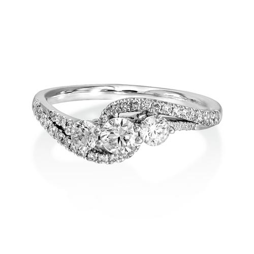 0.69ct. diamond ring set with diamond in three stone ring smallest Image