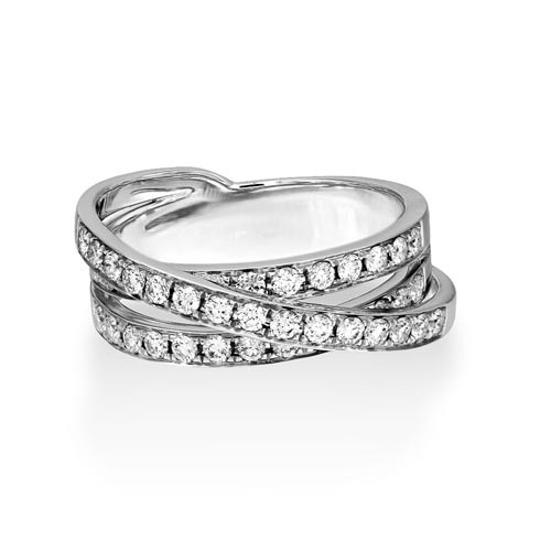 0.74ct. diamond ring set with diamond in crossover ring smallest Image