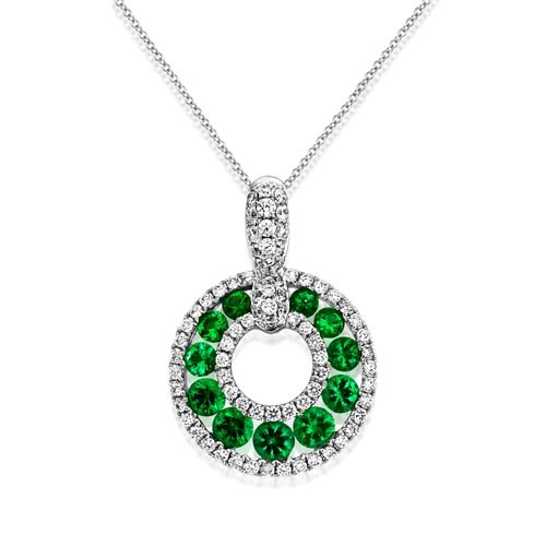 emerald pendant 0.55ct. set with diamond in circle pendant smallest Image