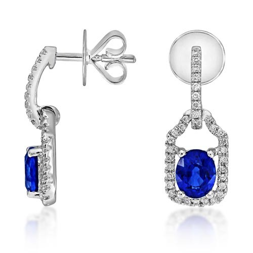 sapphire earrings 0.97ct. set with diamond in drop earrings smallest Image